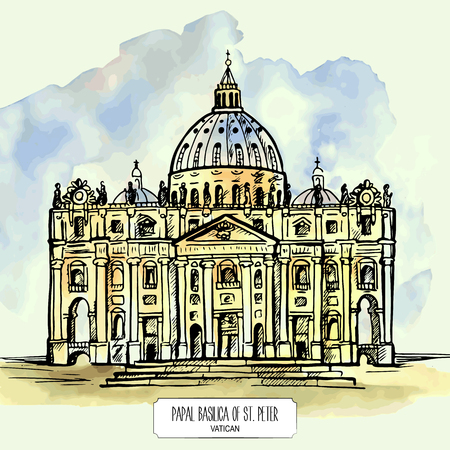 basilica: Papal Basilica of St. Peter in the Vatican. Hand drawn watercolor illustration