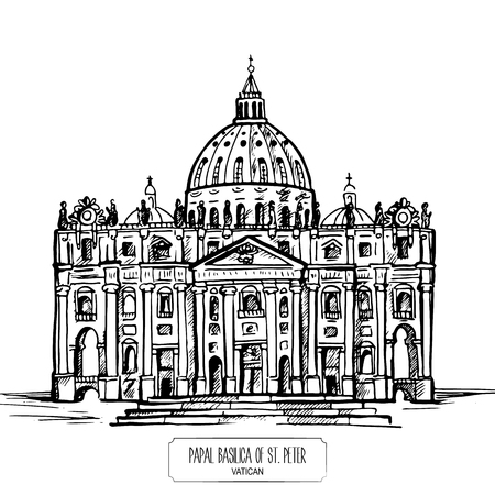 Papal Basilica of St. Peter in the Vatican. Hand drawn illustration Çizim