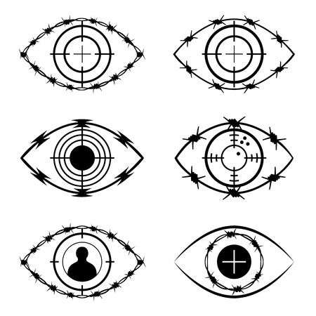 barbed wire isolated: The symbol set of the eye, target, barbed wire, isolated on white. The social and political issue.