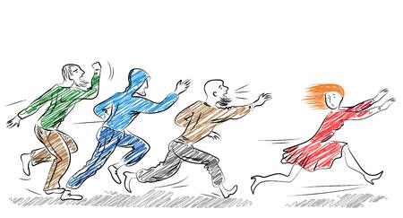 젊은 겁 먹은 여자가 남자들에게서 도망칩니다. 거리 사건에 대한 괴롭힘