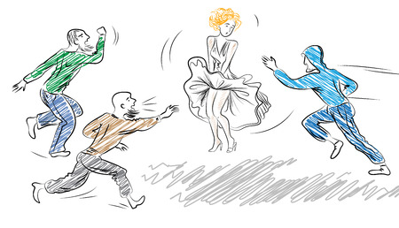 middle east fighting: Young, frightened woman in dress and run to her men Harassment in the street case Illustration