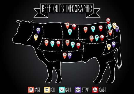 Beef cuts infographic. Vector silhouette of a cow with markers and icons of the method of cooking