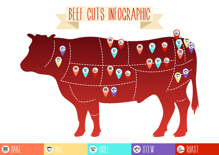 Beef cuts infographic. Vector silhouette of a cow with markers and icons of the method of cooking, isolated on a white background.