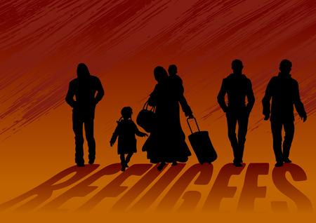 난민 남성과 아이들이있는 아이들. 맨발로 걷는 여자, 무거운 가방과 어린이 라덴. 남자들은 옆에 가서 그녀에게 도움이되지 않습니다.