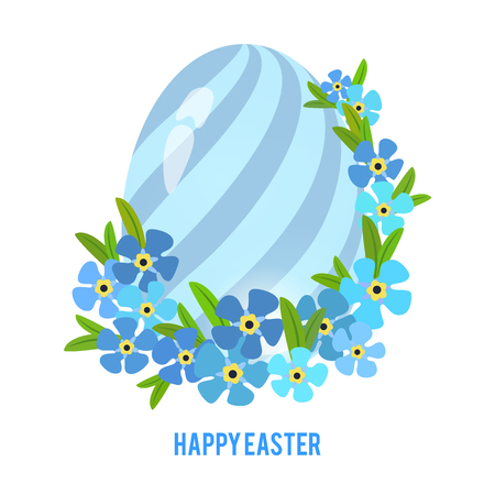 Easter eggs and forget-me flowers frame