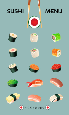 japanese cuisine: Sushi menu template. Japanese cuisine Illustration