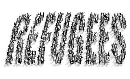 superscription: Many silhouettes of people in the form of lettering Refugees
