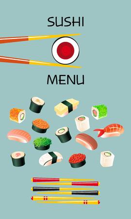 Sushi modèle de menu. cuisine japonaise