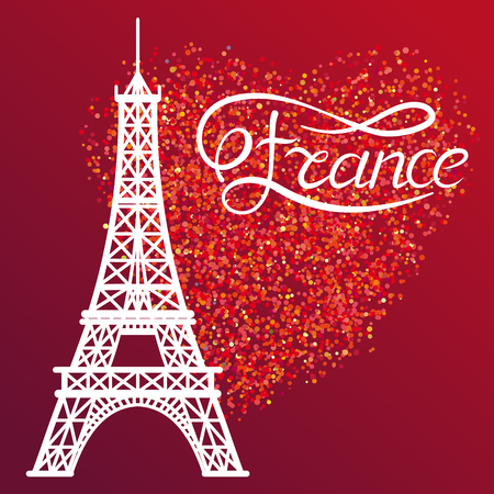 glitter heart: Eiffel Tower and lettering France on the red glitter heart