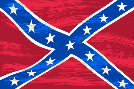 Flag of the Confederate States of America. Civil War flag with a grunge texture