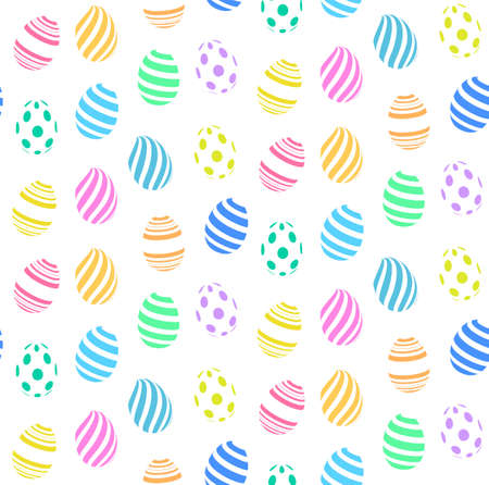tilling: Seamless pattern of colorful dots and stripes easter eggs, isolated on white background. Illustration