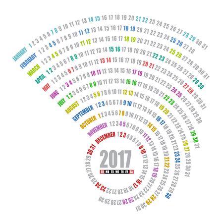 2017 달력 나선형 템플릿 일러스트