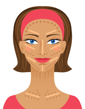 maquillage: Highlight and shading maquillage. Professional Contouring face makeup simple. Fashion illustration.