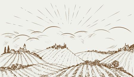 rural field panoramic wide landscape. Vintage illustration.