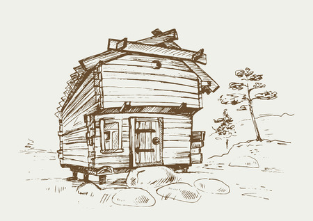old barn: Traditional finnish old rural house in the countryside.  illustration in vintage style.
