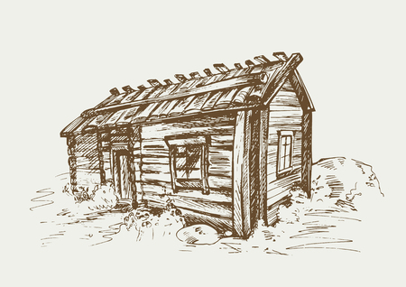 Traditional finnish old rural house in the countryside. illustration in vintage style.
