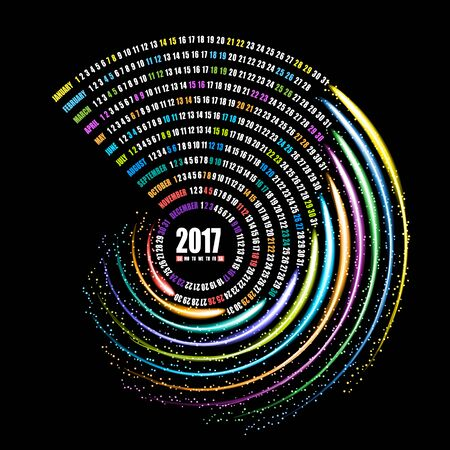 2017 calendar template, spiral firework on black background