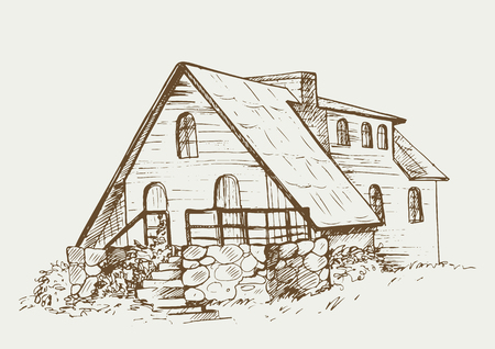 Rural house facade in village. Cottage in the countryside.sketch illustration in vintage style.