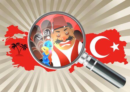 estereotipo: Lupa sobre un mapa Turquía en la bandera nacional de colores. Turk en sombrero y chaleco. Turkey-cock próximo. Concepto de estereotipos.