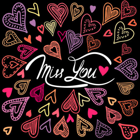 miss you: Vintage greeting card with colorful doodle hearts. Miss You with place for your text.