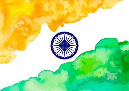 illustration of watercolor Indian Flag with Ashoka Wheel.