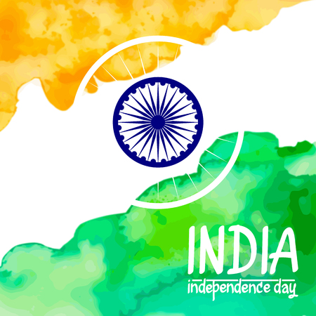 illustration of watercolor Indian Flag for Independence Day. Illustration