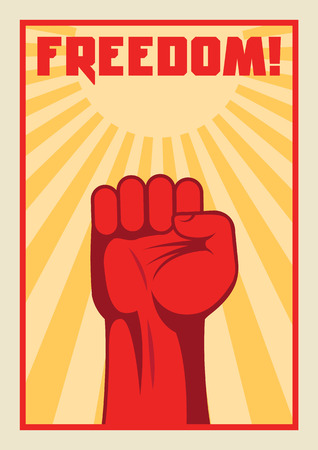 fist up: Fist up power. Fight for freedom. Concept of protest, revolution. Soviet style poster.