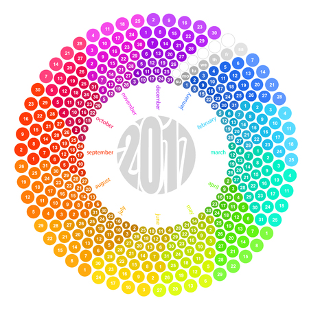 Round calendar 2017 in the colors of the spectrum on white background.