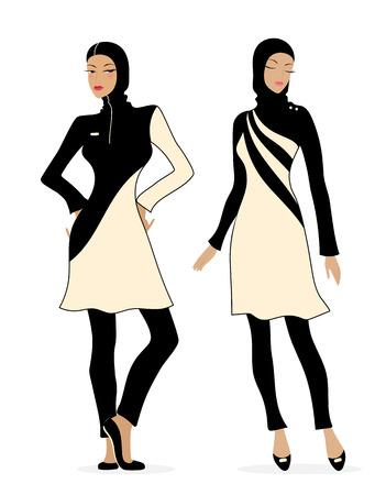 Two girls in swimsuits Islamic burkini. Illustration of Muslim fashion. Vettoriali