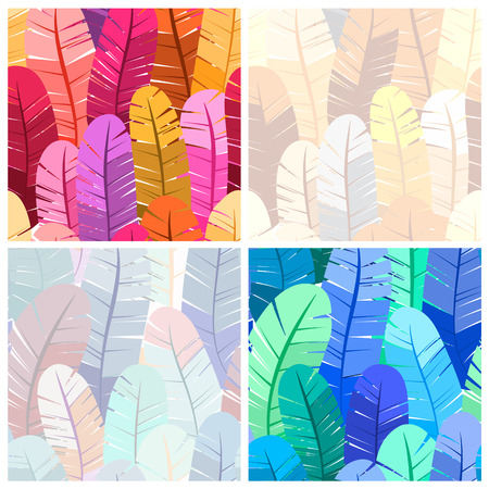 bird feathers: Set of seamless patterns of bird feathers. Colorful vector illustration. Pastel and bright colors.