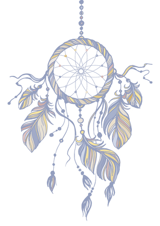 Dream catcher, traditional native american indian symbol. Feathers and beads on white background. Hand drawn vector illustration. Pastel colors. Illustration