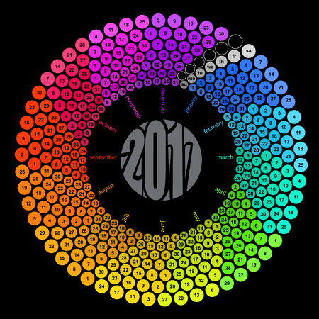 Round calendar 2017 in the colors of the spectrum on black background.