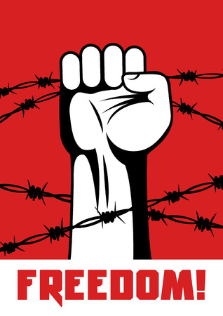 confinement: Fist up power. Hand breaks barbed wire. Fight for freedom. Concept of protest, revolution, refugee. Social theme.