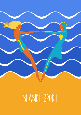 scarf beach: Seaside sport illustration in art deco style. Swimwear and burkini. Two girls in swimsuits. Illustration of european and Muslim fashion.