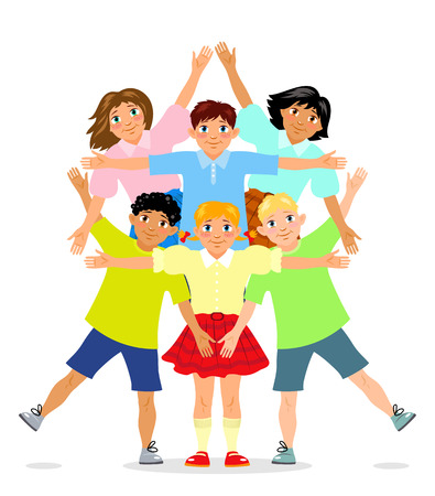 Six children stand and put arms in Star of David shape. Illustration