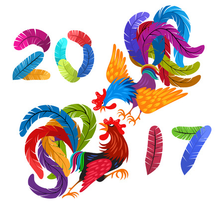 Two bright colorful rooster fighting. Lettering 2017 made of feathers. Drawing Chinese symbol of the New Year. Decorative abstract cocks. Isolated on white background.