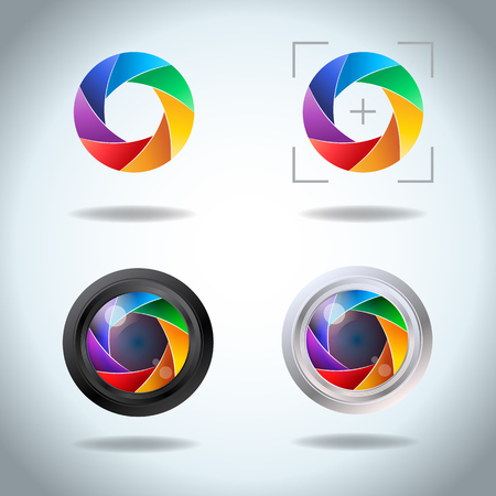 Colorful vector set of lens aperture. Diaphragm of a photo camera shutter spectrum icon set. Side exposed aperture blades.