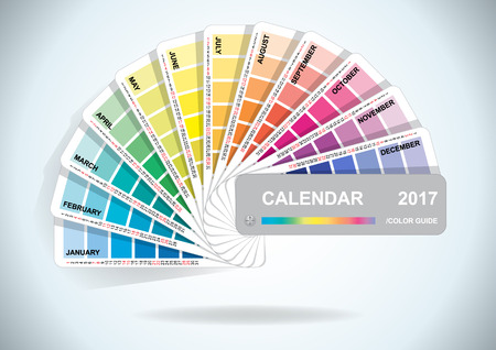 color samples: Color guide calendar 2017. Colorful charts samples. Rainbow paper hand fan. Vector illustration.