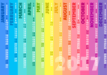 spectral: Colored striped calendar 2017. Spectral colors.