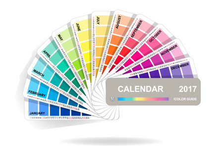 Color guide calendar 2017. Colorful charts samples isolated on white background. Rainbow paper hand fan. Vector illustration. Illustration