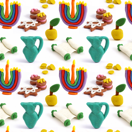 hannukah: Hanukkah seamless handmade plasticine pattern. Modeling clay colorful texture. Isolated on white background.