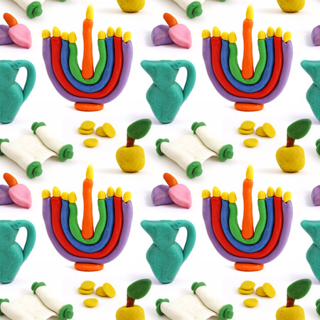 gelt: Hanukkah seamless handmade plasticine pattern. Modeling clay colorful texture. Isolated on white background.
