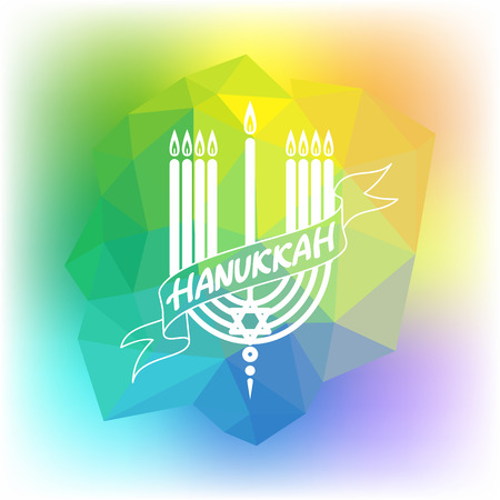 Happy Hanukkah lettering on low poly colorful background