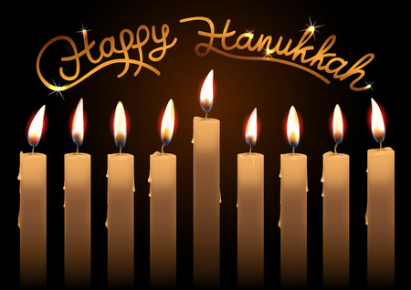 judaic: Hanukkah realistic vector candles over dark background. Happy Hanukkah lettering. Created with gradient mesh.