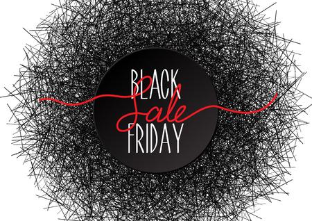 illustration for advertising: Black Friday sale lettering on black round label. Vector illustration for advertising. Dark grunge background from the set of particles. Illustration