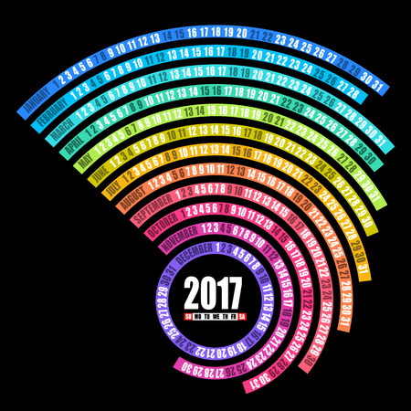 2017 calendar spiral template isolated on black background