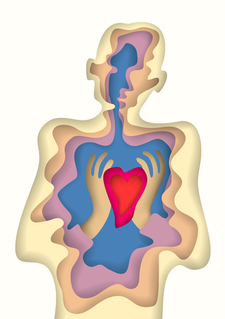 Layered cut out colored paper man silhouette with red heart in hands. Conceptual layer art postcard for Valentine day. Vector file Illusions of depth. Vektoros illusztráció