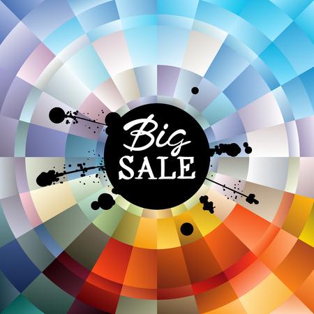 Big Sale handwritten Inscription and black ink splatter on colorful gradient radial background. Lettering for sale tag, special offer banner, label. Illustration
