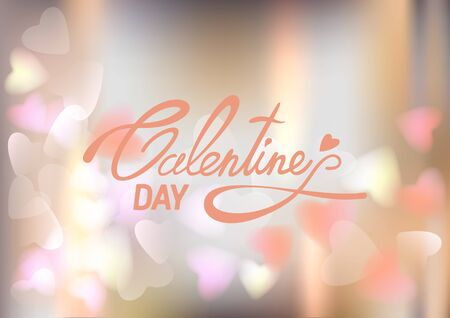 leaks: Lettering Valentines Day on soft light leaks and bokeh background with hearts. Vector illustration EPS10. Illustration