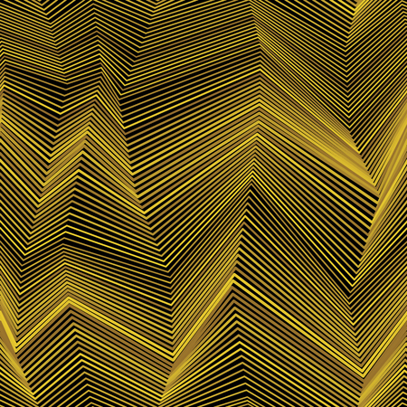 moire: Abstract seamless moire pattern with zigzag lines. Golden graphic black and white ornament. Striped geometric repeating texture.